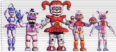 The Sister Location Animatronics' Heights by Bantranic on DeviantArt Im Moving On, Fnaf 5, Fnaf Baby, Funtime Foxy, Fnaf Sister Location, Circus Baby, Try Your Best, Fnaf Characters, Cute Kawaii Drawings