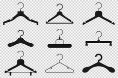 Premium Vector | Set with hangers. Cleaning Cartoon, Cleaning Icons, Cartoon Icons, Cartoon Styles, Black Silhouette, Cartoon Silhouette, Hanger Clips, Hangers, Laundry Icons