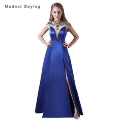 Find More Evening Dresses Information about Sexy See Through Split Royal Blue A Line Beaded Evening Dresses 2017 Long Engagement Party Prom Gown vestido longo de festa A011,High Quality vestido longo de festa,China long engagement Suppliers, Cheap beaded evening dresses from modest saying Lacebridal Store on Aliexpress.com