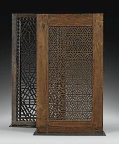 TWO 'MOUCHARABIEH' WOODEN WINDOWS, HINDUSTAN, 19TH CENTURY