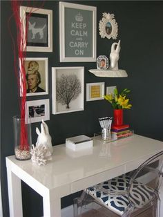 If your desk must face the wall, the wall should at least have the decency to be styled similar to this.