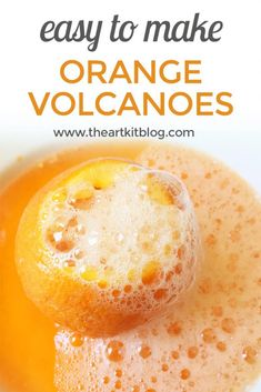 Orange Volcanoes Science Experiment for Kids Using Simple Ingredients - Perfect STEAM Project