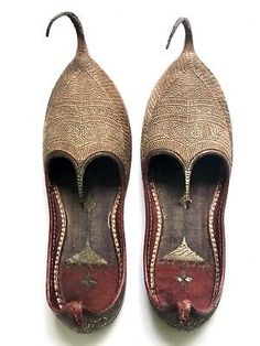 6d50e67aea03 Antique Turkish Shoes Vintage Leather Slippers Embroidered Metallic Gold  Thread