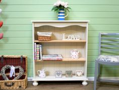 Lovely Solid Pine Shabby Chic Bookcase Unit *farrow And Ball* Christmas Gift