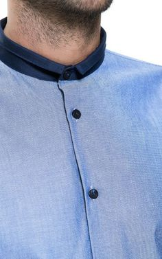 SHIRT WITH DOUBLE MAO COLLAR #details #shirt