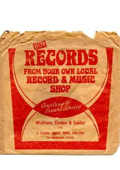 Vintage Record shop bag from Wickham, Kimber and Oakley Ltd, 8 George Street, Hove Vinyl Records, Vintage Records, Vintage Ads, Vinyl Store, Vinyl Junkies, Record Players, Vinyl Labels, Brighton And Hove, Printmaking