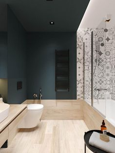 30 Cozy Scandinavian Style Home With Green Decor Ideas Modern Small Bathrooms, Modern Bathroom, Bathroom Green, Navy Bathroom, Half Bathrooms, Bathroom Toilets, Bathroom Renos, Bathroom Ideas, Bathroom Wall
