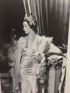The Marchioness of Anglesey, wearing a diamond and pearl floral tiara 'halo-style';photographed by Cecil Beaton in 1937 on the occasion of the Coronation of George VI