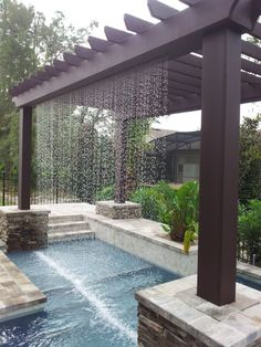 37 Great Pergola Pool Designs to Achieve Balanced Outdoor Spaces Get the perfect custom pergola shade for your delight. Find the pergola pool designs that suit the space you want to create! Go to for more ideas. Deck With Pergola, Outdoor Pergola, Backyard Pergola, Pergola Shade, Outdoor Spaces, Pergola Lighting, Outdoor Living, Backyard Shade, Shade Garden