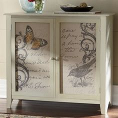 (idea for decoupage cabinet doors under tv) (this is from ave) My Home Design, Home Design Decor, House Design, Corner Curio, Rustic Bookshelf, My Ideal Home, Family Rules, Painted Furniture, Furniture Ideas