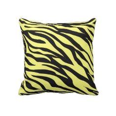 Fun Bold Yellow Zebra Stripes Wild Animal Print Pillows