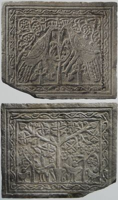 12. Double-sided closure panel, 9th century, Greece, Byzantium 330-1453. Tree of life and vine motifs