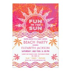Beach Party! Have fun in the sun with this custom Birthday Party Invite
