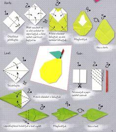origami körte és levél