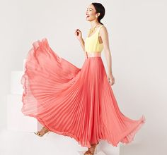 Alice + Olivia pleated coral and yellow maxi dress from gilt #maxidress #coral #yellow