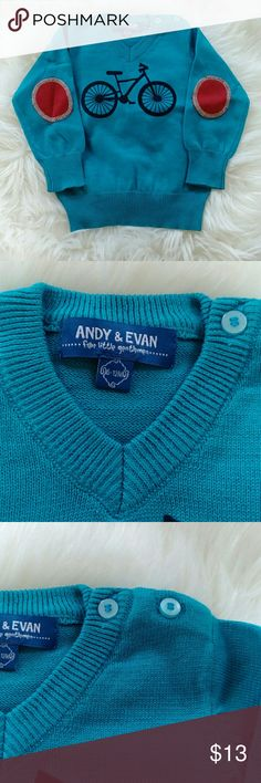 Andy & Evan boys' blue bicycle sweater Andy & Evan knit sweater with bicycle motif,  ribbed V neckline, long sleeves with contrast elbow patches, ribbed cuffs and hem; pullover style, cotton. Brand new no tags. Andy & Evan Shirts & Tops Sweaters