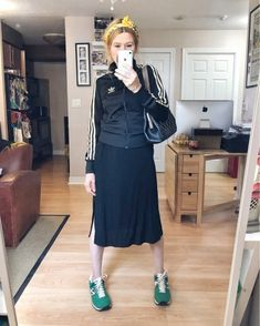 Fashion Look Featuring adidas Activewear Jackets and Lou & Grey Dresses by sarawatsonim - ShopStyle Leather Jacket Dress, Leather Dresses, Black Slip Dress, Gray Dress, Black Silk Blouse, Thrift Fashion, Scarf Hairstyles, What I Wore, Pull