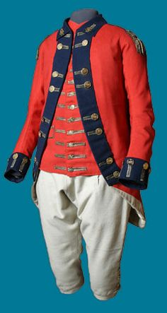 "Loyalist's uniform via The Canadian War Museum ""In Loyalist soldiers received scarlet uniforms, similar to those worn by British regulars. This one belonged to Lieutenant Jeremiah French of the. American Revolutionary War, American War, British Uniforms, Military Coats, Military Uniforms, 18th Century Clothing, Army Uniform, French Revolution, Historical Clothing"