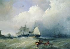 Russian Landscape, Baltic Sea, Sailing Ships, Artist, Pictures, Painting, Image, A4 Poster, Poster Prints