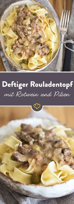 Roulade ohne Rollen: Unser Rouladentopf vereint zartes Rindfleisch, herzhaften B… Roulade without rolls: Our roulade pot combines tender beef, hearty bacon, sour gherkins and the fine-hot aroma of mustard. Grilling Recipes, Pork Recipes, Pasta Recipes, Cooking Recipes, Bon Dessert, Good Food, Yummy Food, Le Diner, Different Recipes