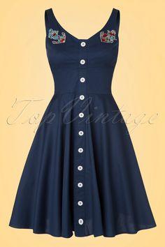 50s Sela Swing Dress in Navy