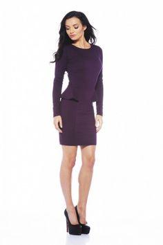Long Sleeve Fitted Peplum Purple Dress - AX Paris USA-Fashion Dresses, Black Dresses, Evening Dresses and Party Dresses