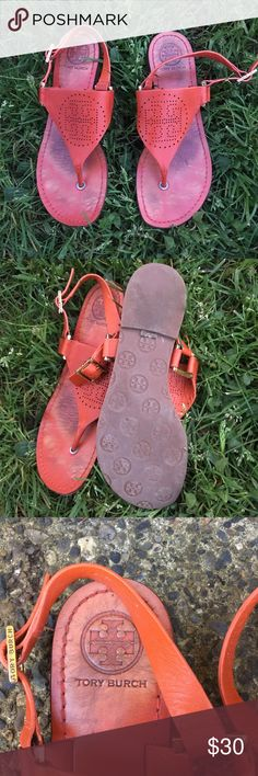 Authentic Tory Burch sandals size 7 1/2 Still in great preowned shape signs of wear are ok the photos minor driving heel wear!  They are a gorgeous red orange #toryburch Tory Burch Shoes Sandals