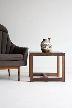 walnut side table wood side table wood furniture by bertucandles, $650.00
