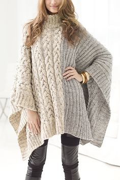 Free Knitting Pattern for Chatsworth Cable Poncho - Pullover poncho with an 8 row cable on one half and ribbing on the other half, finished with ribbed turtleneck. Designed by Vladimir Teriokhin for Lion Brand. Aran weight yarn.