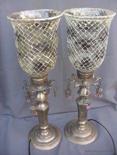 lámpara de sobremesa en cristal emplomado y bro - Comprar Lámparas Antiguas en todocoleccion - 53487276 Shopping, Crystals, Antique Chandelier, Bronze, Silver