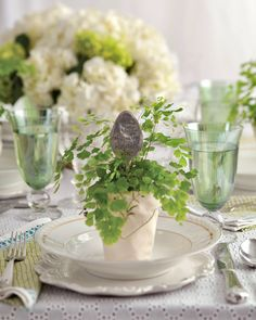 Plant Table, A Table, Potted Ferns, Ladies Luncheon, Tea Party Decorations, Pot Plante, Southern Ladies, Easy Entertaining, Seasonal Flowers
