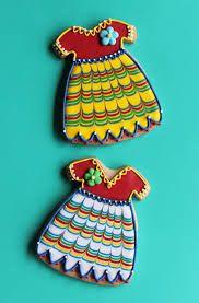 Cinco de Mayo Fiesta Dresses - cookies by Julia Usher. Fancy Cookies, Cut Out Cookies, Cute Cookies, Onesie Cookies, Sweet Cookies, Cupcakes, Cupcake Cookies, Sugar Cookies, Iced Cookies