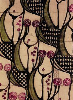 Odalisque textile design by Charles Rennie Mackintosh