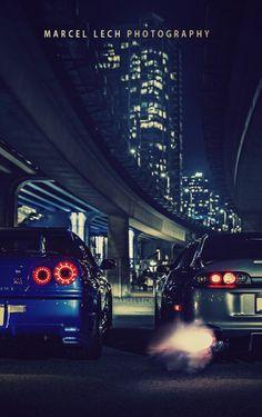 nissan gtr dreamer-garage: GTR x Supra MKIV (via) Nissan Gtr R34, R34 Gtr, Rolls Royce, Lamborghini, Ferrari, Best Jdm Cars, Toyota Supra Mk4, Jdm Wallpaper, Car Backgrounds