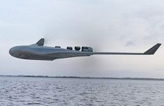 The seaplane has a 'blended wing body' configuration, where its hull slopes upwards to blend seamlessly into the underside of the aircrafts' wide wings, reducing drag. Blended Wing Body, Future Transportation, Ground Effects, Experimental Aircraft, Wings Design, Wide Body, Aircraft Design, Air France, Jet Plane