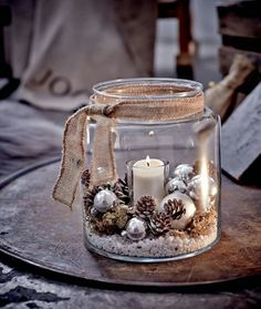 Windlicht, Glas Vorderansicht - All For Remodeling İdeas Christmas Table Decorations, Christmas Candles, Rustic Christmas, Christmas Home, Christmas Ornaments, Winter Decorations, Vintage Christmas, Decorating For Winter, Pinecone Wedding Decorations
