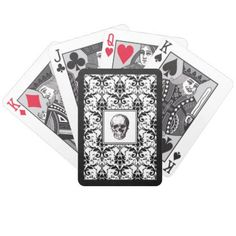 #HALLOWEEN Black Gothic Damask Pattern Skull Bicycle Playing Cards - #Halloween #happyhalloween #festival #party #holiday