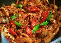 Maybe my favorite Korean food:  Spicy Squid! 오징어붂음 yes please!