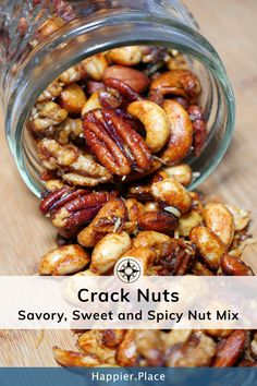 Elevate your next party or outdoor adventure with this irresistible savory, sweet and spicy nut mix. The well-balanced mixed nuts, with just a hint of curry and coconut, are ideal as fancy cocktail nuts or an exotic trail mix. Paleo Nuts, Spicy Nuts, Sweet And Spicy Mixed Nuts Recipe, Roasted Nuts Healthy, Savory Spiced Nuts Recipe, Sweet N Spicy, Spiced Pecans, Roasted Almonds, Trail Mix Recipes