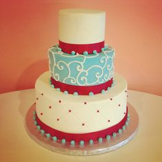 Tiffany Blue and Red Wedding Cake by 2tarts Bakery. New Braunfels, TX   www.2tarts.com