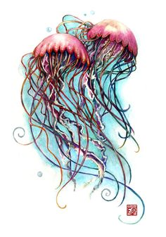 ***…under the sea…*** (Commission) by Asfahani on DeviantArt - jellyfish Jellyfish Drawing, Jellyfish Painting, Jellyfish Tattoo, Sea Tattoo Sleeve, Sleeve Tattoos, Watercolor Sea, Watercolor Tattoo, Ocean Tattoos, Fish Tattoos