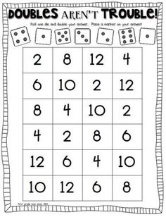 double trouble: math game to practice doubles facts