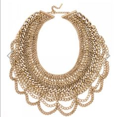 Gold Baublebar bib necklace Fashionable statement piece by Baublebar. Never worn and still has tag! Baublebar Jewelry Necklaces