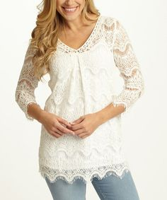 Look what I found on #zulily! Ivory Lace V-Neck Top by Pinkblush #zulilyfinds
