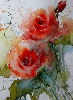 Roses Painting - watercolor - red-orange