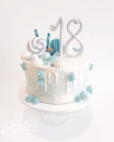 Last cake from the weekend was another of my fun drip cakes, this time for an Hope you had a great night Birthday Drip Cake, Blue Birthday Cakes, Birthday Cakes For Teens, 18th Birthday Cake, Blue Drip Cake, Drippy Cakes, Drop Cake, 18th Cake, Drizzle Cake