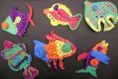 Start with slab and cut out fish from stencil. Add coils and clay for details. Paint with tempera and cover with modpodge Clay Projects For Kids, Art Projects, Flat Fish, 3rd Grade Art, Ocean Themes, Arts Ed, Tempera, Creative Play, Clay Ideas