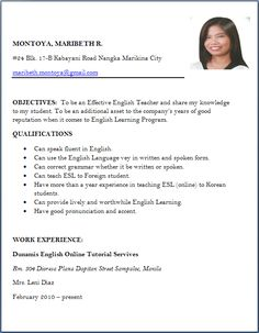 Resume Format For A Teacher Cool Chinni Hyma Chinnihyma On Pinterest