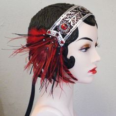 Lady Is A Vamp - Bejeweled Peacock Feather Flapper Headband in Ruby Red, Black and Silver. $95.00, via Etsy.