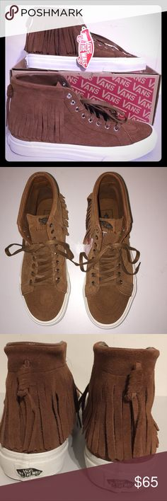 NWT Vans Suede SK8-Hi Moc Monks Robe Beautiful and stylish suede shoes with moccasin inspired fringes.  Soft and supple brown suede is the perfect color to match any outfit.  Unisex: M 7.5/W 9.0; M 8.5/W 10.0 Vans Shoes Sneakers